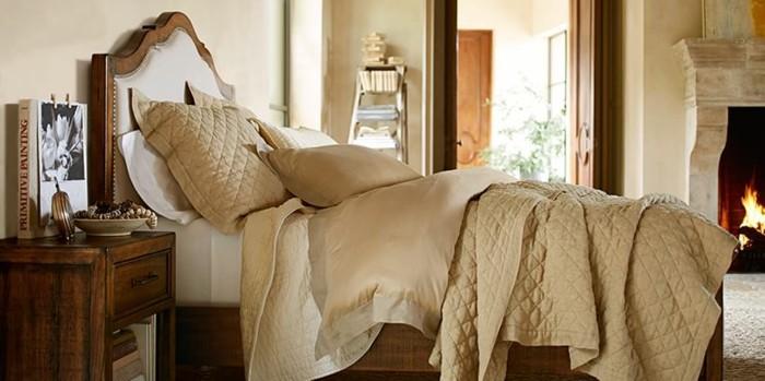 dormitorio muebles madera chimenea ideas
