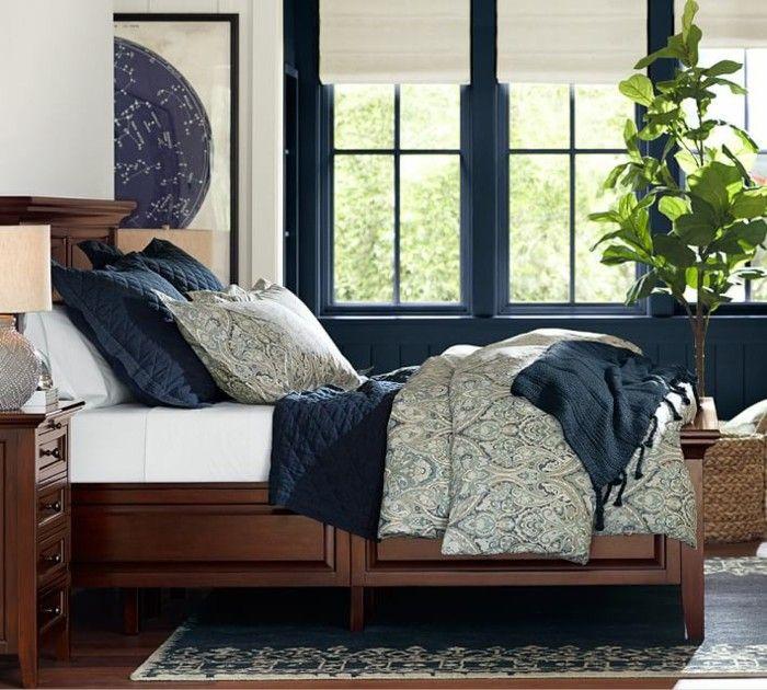 dormitorio ventanas madera azul ideas