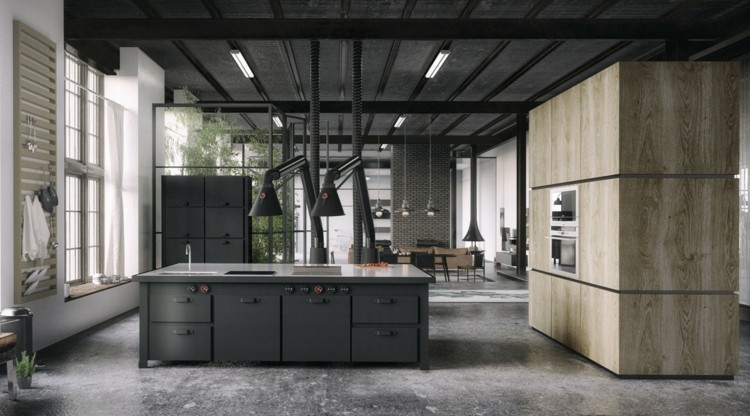 modelos de cocinas estilos industrial negro