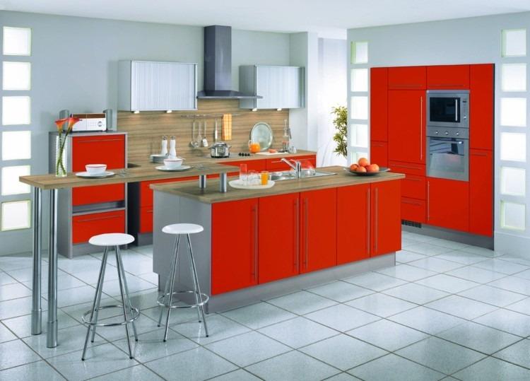 modelos de cocinas estilos rojo plantas