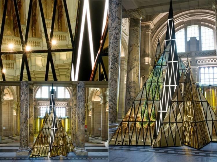 arboles de navidad ideas dorados triangulos futurista
