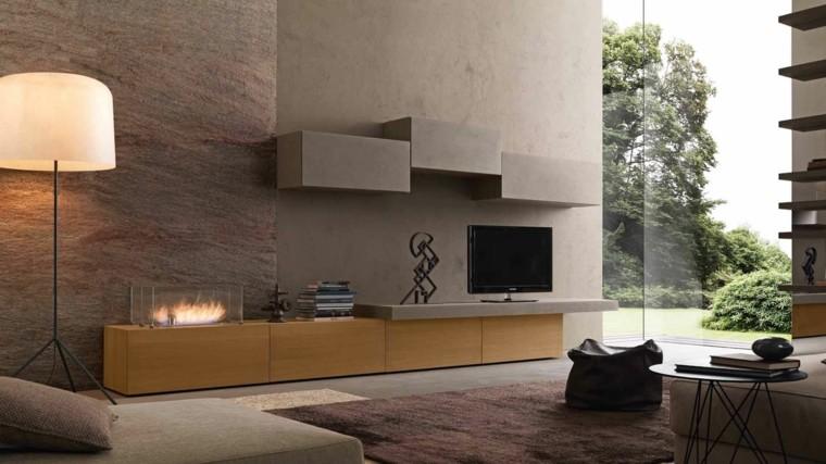Chimeneas de bioetanol para interiores modernos - Muebles de salon con chimenea integrada ...