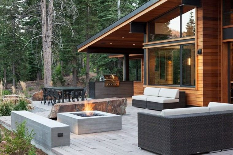 montañas casa sillas troncos patrones