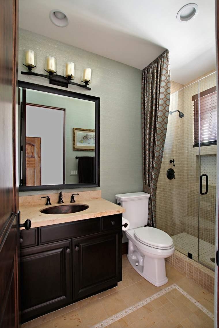muebles baño madera oscura