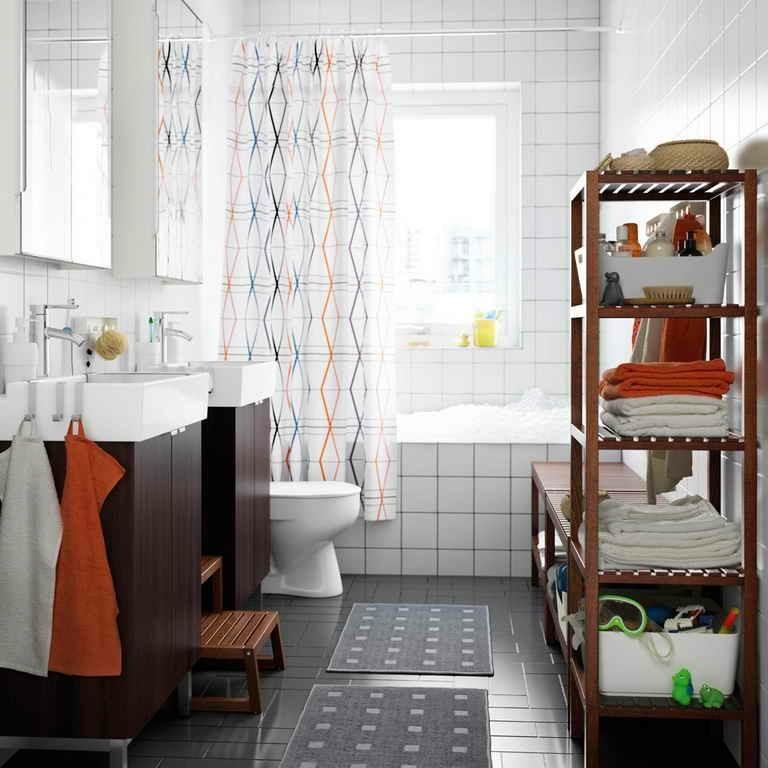 mueble estante madera baño moderno