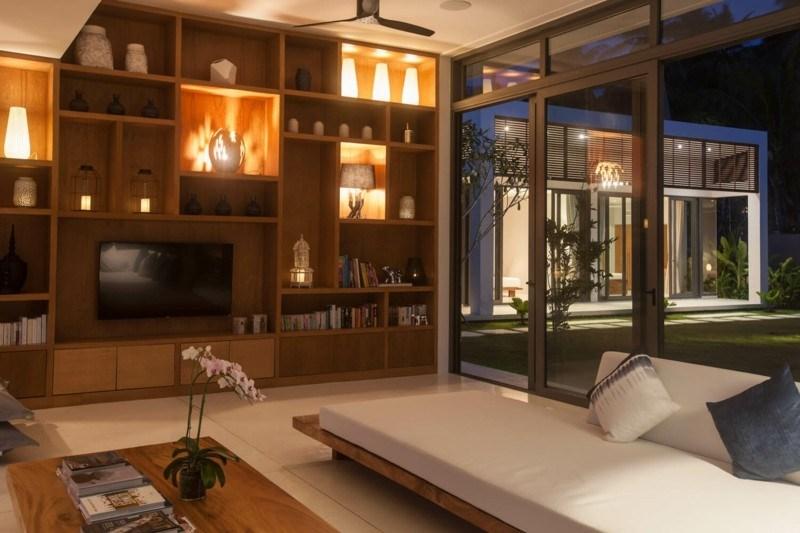 mueble modular madera natural salon