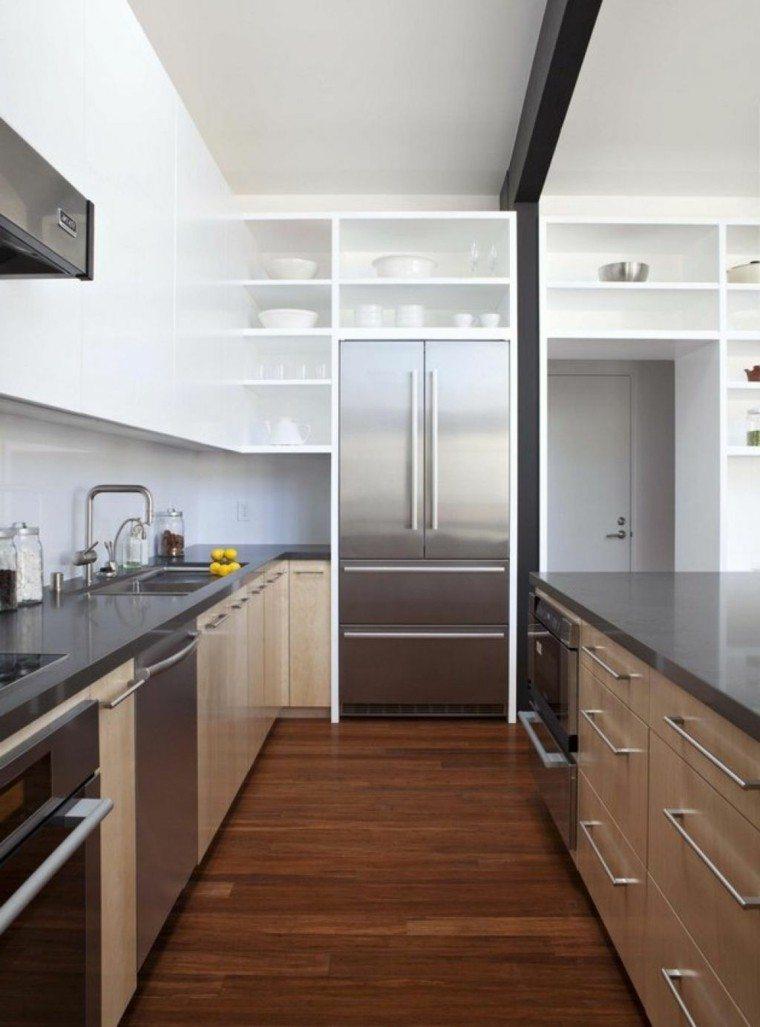muebles cocina acero laminado madera