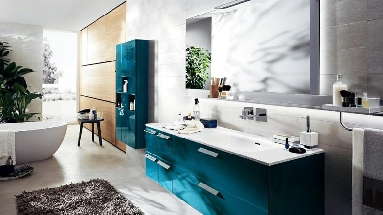 Muebles De Baño Color Turquesa:Cuarto de baño lujoso de color gris verdoso