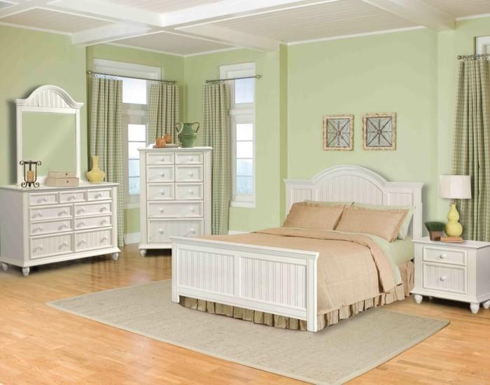 muebles madera blanca paredes verdes dormitorio ideas