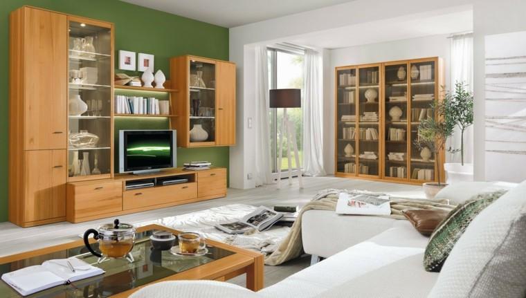 muebles madera pared verde salon ideas