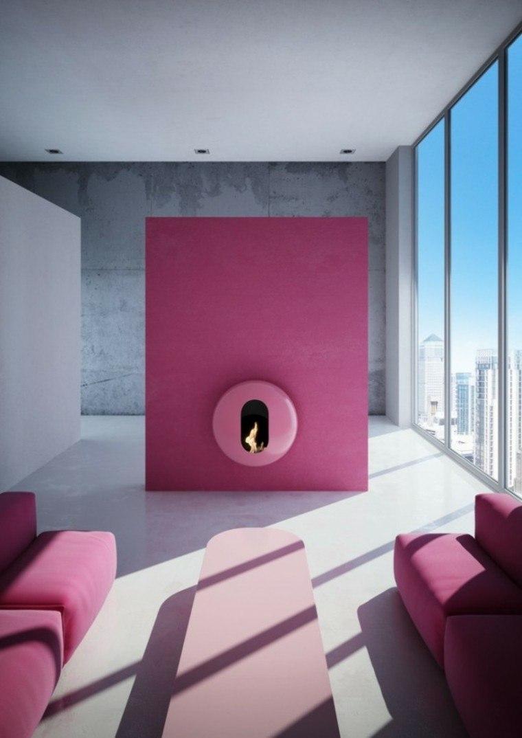 muro chimenea color bubble rosa