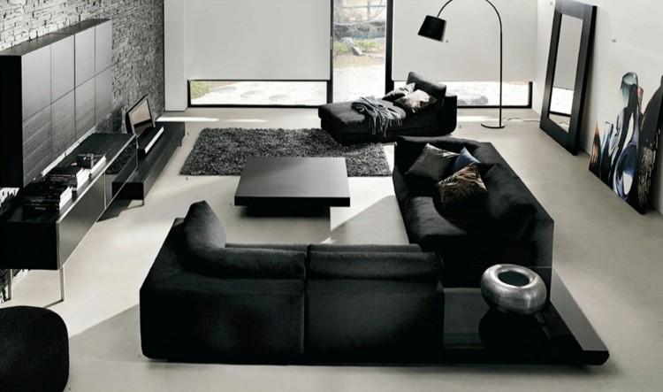 negro estilo casa diseño lamparas grises