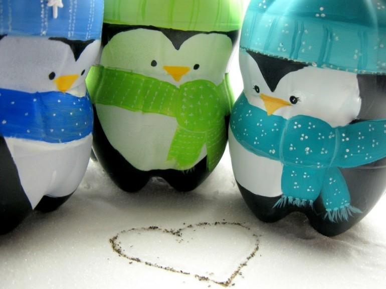 origbinales diseños pinguinos botellas plastico