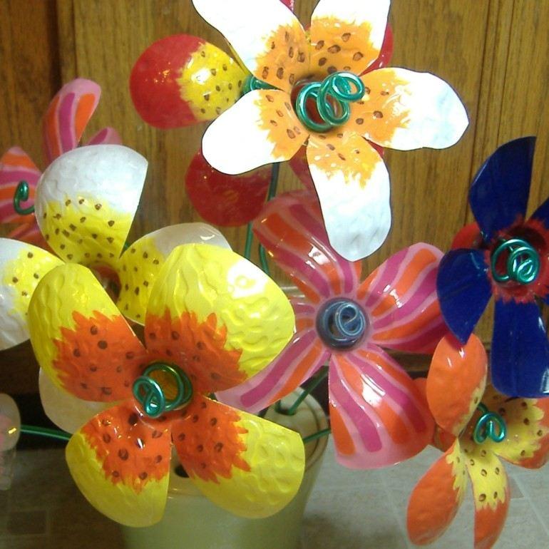 originales diseños flores colores botellas