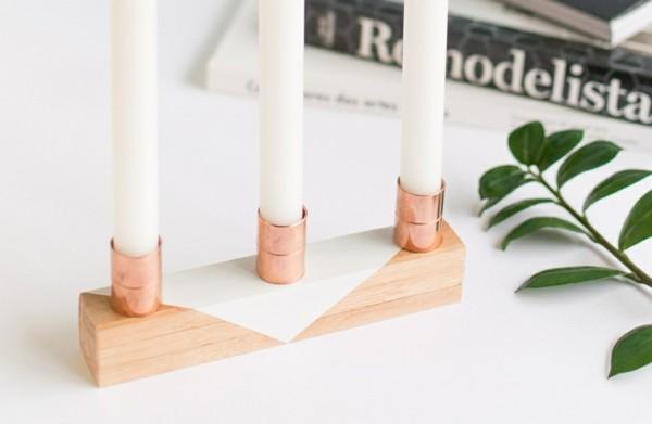 original candelabro madera tubería cobre