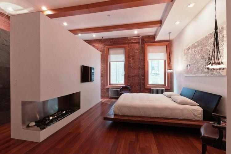 original dormitorio ladrillo chimenea visto