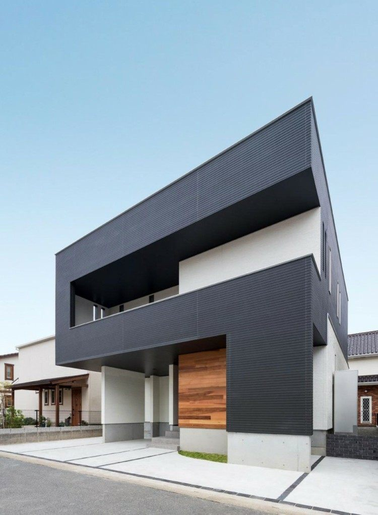 original diseño fachada casa gris