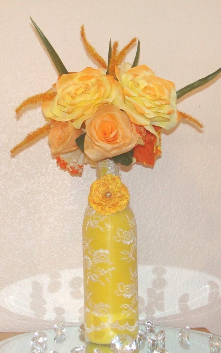 original jarron amarillo tela encaje