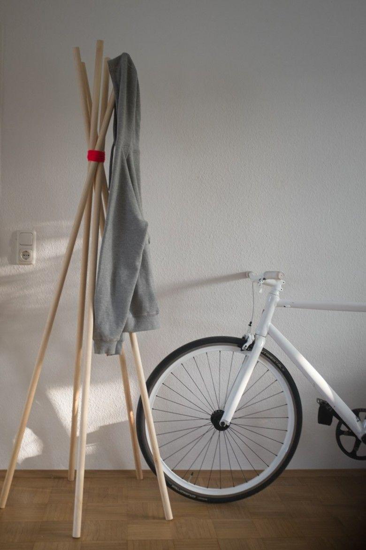 original DIY decoracion perchero varas madera