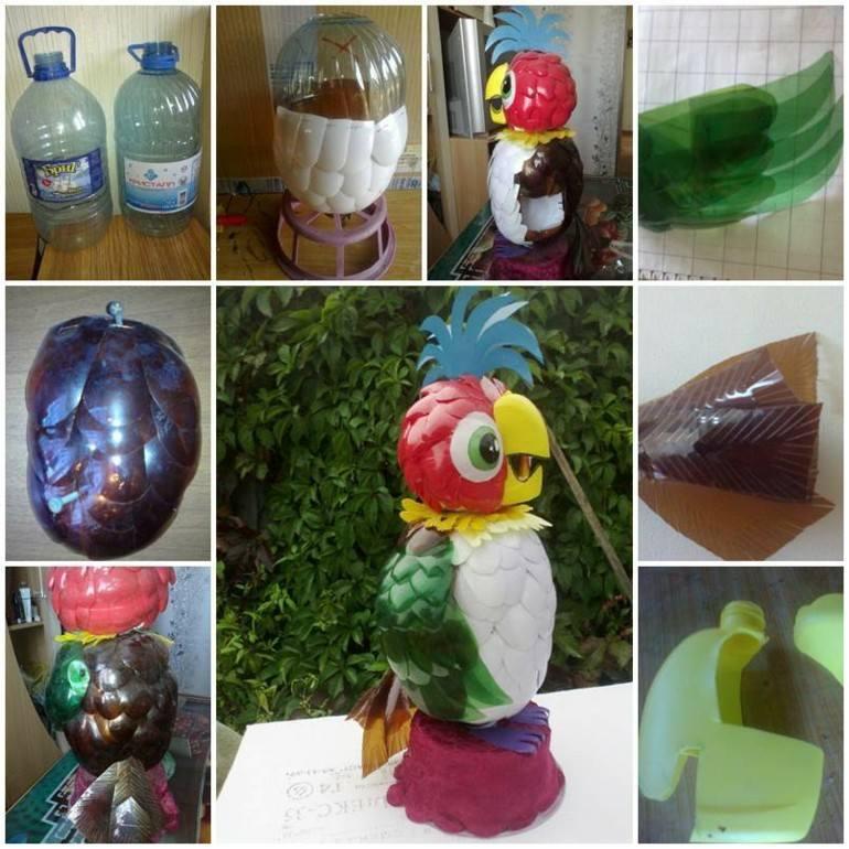 original diseño loro botellas plastico