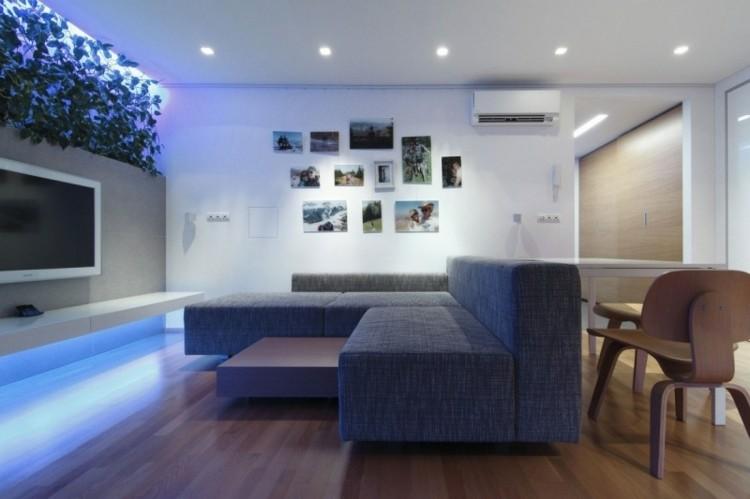 original diseño salon luces azules