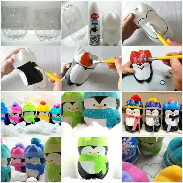 originales pinguinos de botellas plastico