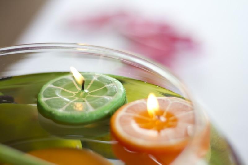oroginales velas forma rodajas frutas