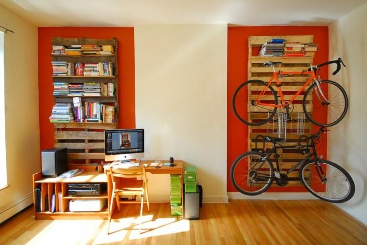 palets mobiliario creativo estantes bicicleta