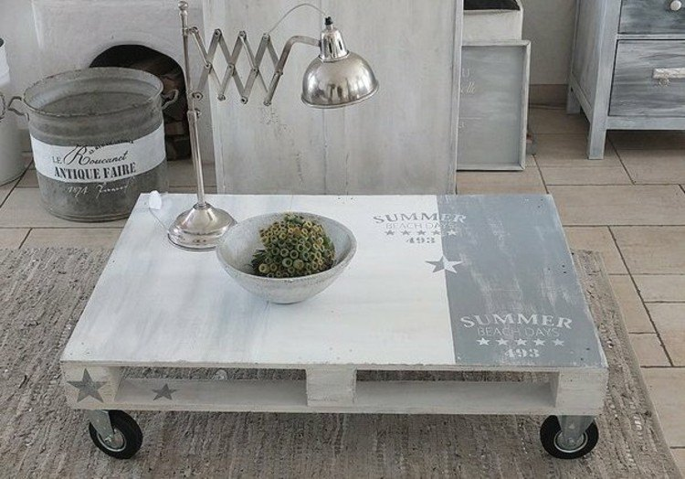 palets mobiliario mesa centro blanco