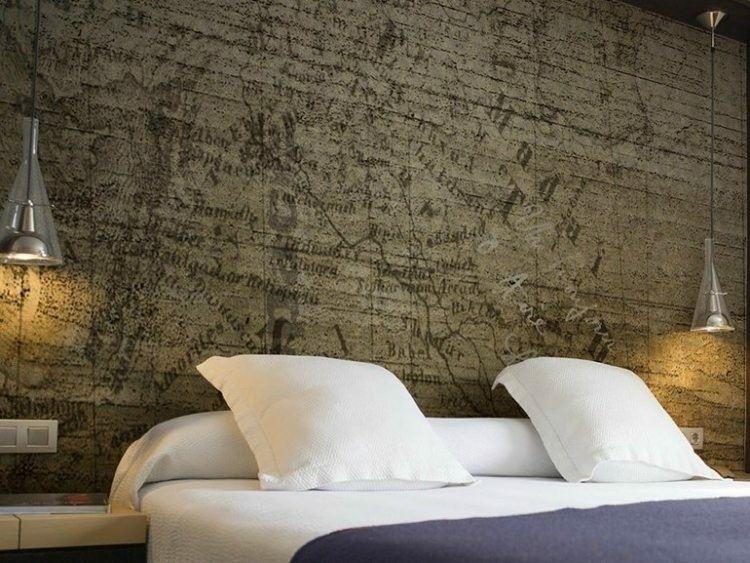 papel de pared diseño dormitorios estilos lamparas