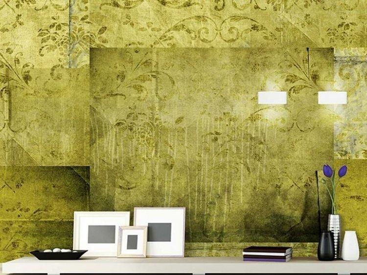 papel de pared diseño hojas cuadros jarrones