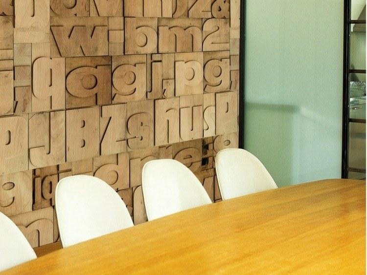 papel de pared diseño letras madera abecedario