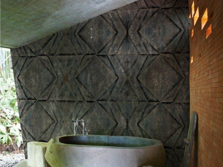 papel de pared diseño muebles bañera rocas