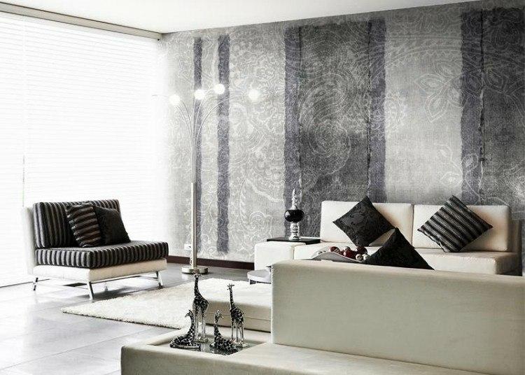 papel de pared diseño muebles estilos plateado