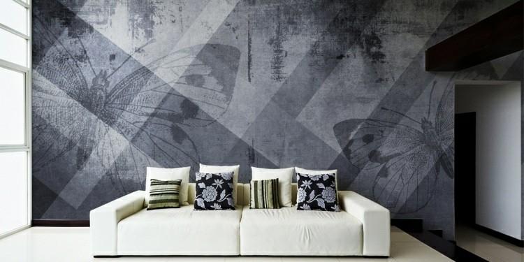 papel de pared diseño muebles grises cojines