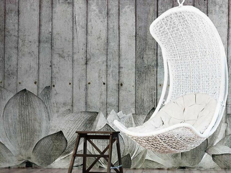 papel de pared diseño silla colgante blanca