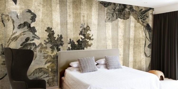 papel de pared diseño sillones hojas lineas