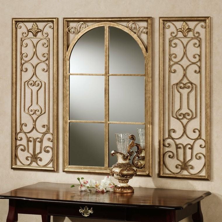 pared decorada espejo lujoso ideas
