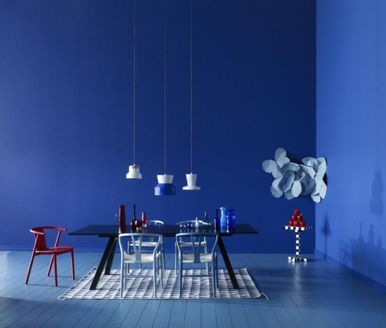 paredes azul estilos diseños comedor blanco