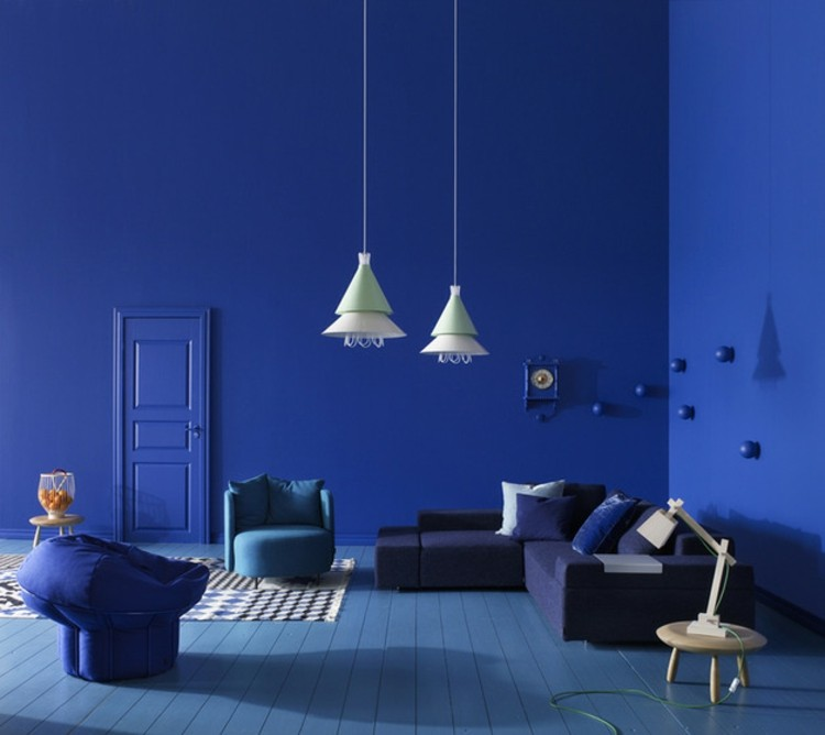 paredes azul estilos diseños lineas lamparas