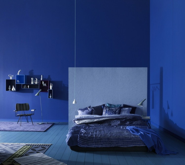 paredes azul estilos diseños plateados negro