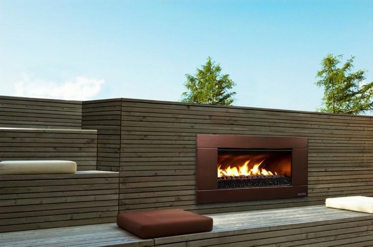 patio casa illas troncos listones cojines