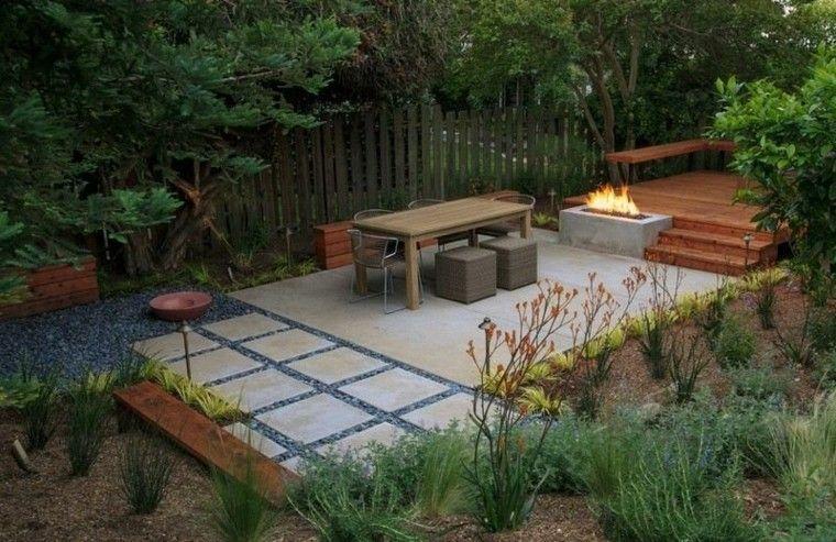 patio casa illas troncos plantas exteriores