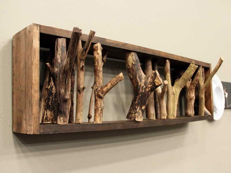 perchero original diseo madera flotante - Perchero De Madera
