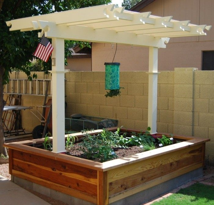 pergola blanca protege plantas jardin ideas