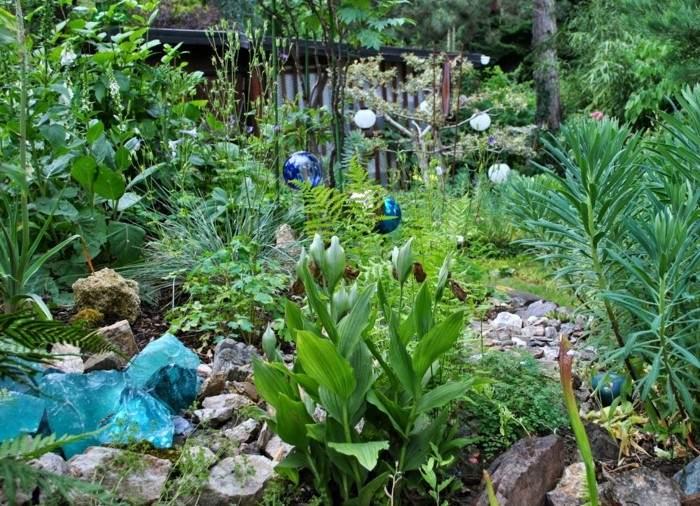 piedras colores adornos cristal jardin ideas