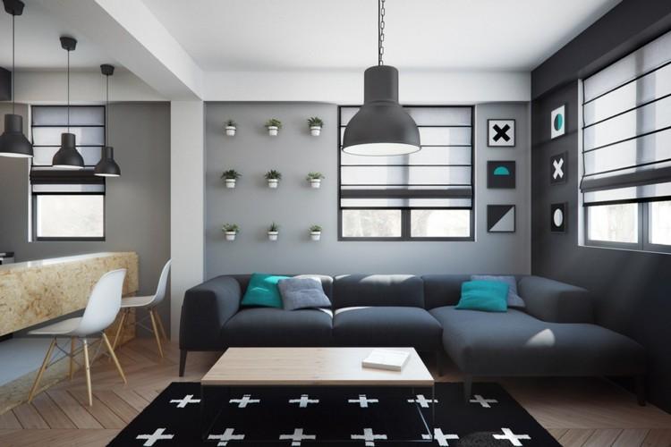 pisos pequeños decorado azules cojines