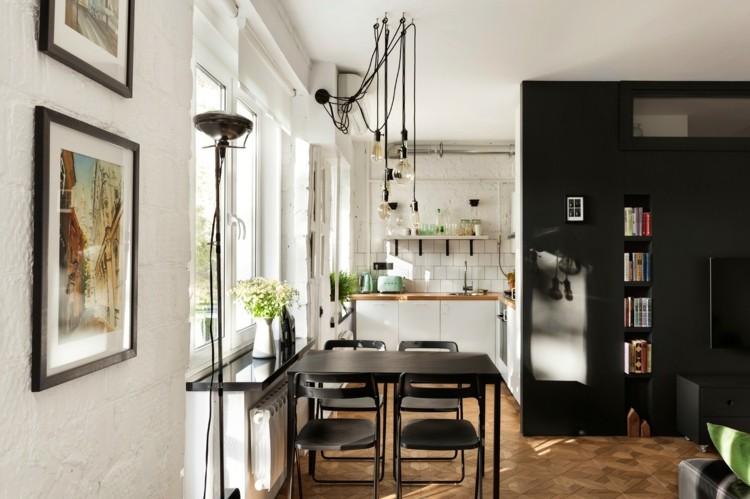 pisos pequeños decorado blanco negro cuadros