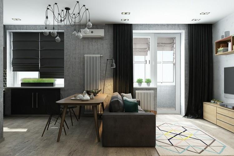 pisos pequeños decorado diseños cortinas lamparas