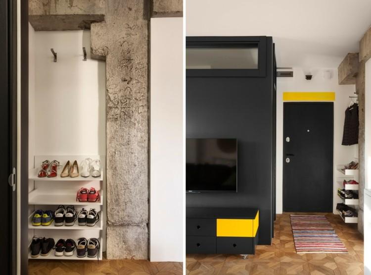 pisos pequeños decorado diseños zapatera amarillo